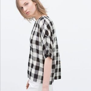 Zara | Red White Blue Plaid Flannel Shirt Sz M